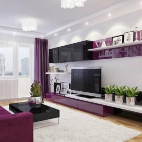 Фиолетовый цвет в интерьере квартиры