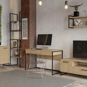 Модульные предметы мебели в интерьере гостиной