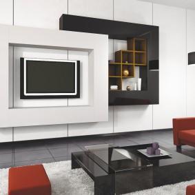 Контрастное оформление фасадов у мебельной стенки