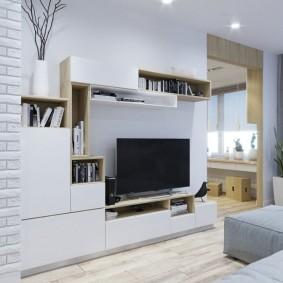 Стенка для гостиной в скандинавском стиле