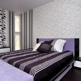 Сочетание разных обоев в интерьере спальни