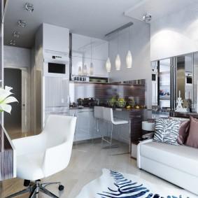 Компактная расстановка мебели в однокомнатной квартире