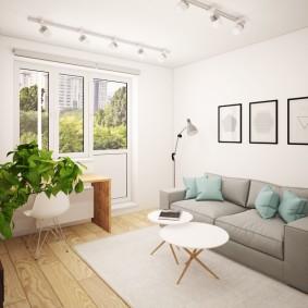 Дизайн зала в светлых оттенках