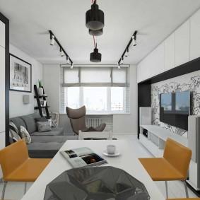 Дизайн гостиной комнаты вытянутой формы