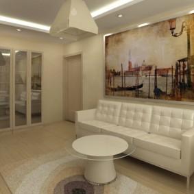 Дизайн гостиной комнаты с фотообоями над диваном