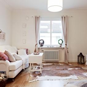Светлая комната с минимумом декоративных элементов