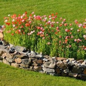 Каменный бордюрчик на клумбе с цветущими растениями