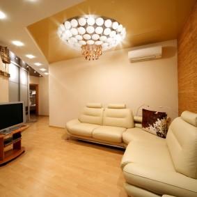 Освещение гостиной люстрой с светодиодными лампами