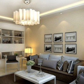 Зонирование гостиной осветительными приборами