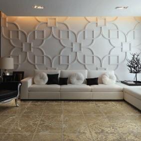 Декор стены в гостиной объемными панелями