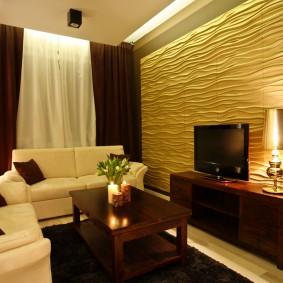Эффектное декорирование стены за телевизором