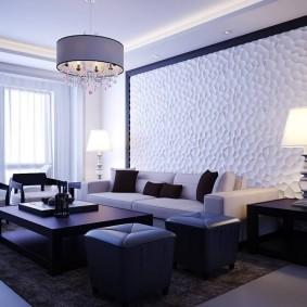 Декорирование стены в гостиной современного стиля