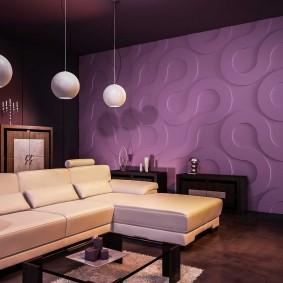 Фиолетовые панели в интерьере гостиной
