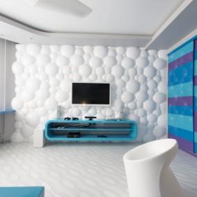 3d-панели в гостиной комнате с телевизором