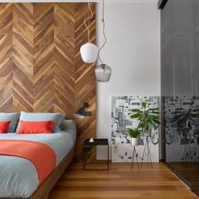 Декор паркетом стены в спальне
