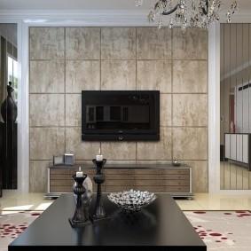 Керамическая плитка на стене с телевизором