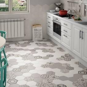 Плитка-соты в интерьере кухни