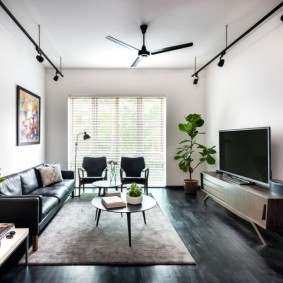 Прямоугольная гостиная с вентилятором на потолке