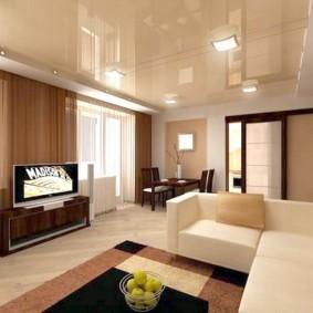 Дизайн просторной гостиной с натяжным потолком