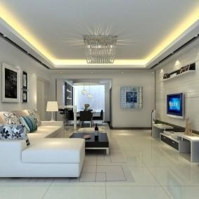 Светодиодная подсветка потолка в зале