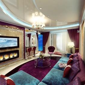 Дизайн гостиной комнаты с биокамином под телевизором