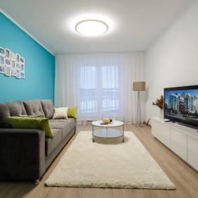 Голубой цвет в интерьере небольшой комнаты