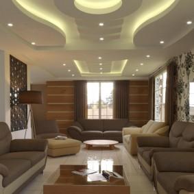 Красивая подсветка волнообразного потолка