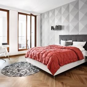 Интерьер спальни с 3D-эффектом на обоях