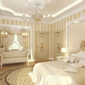 Светлые обои в спальне классического стиля