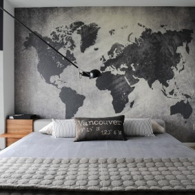Карта мира на обоях с фотопечатью