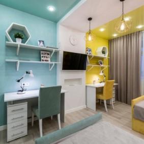 Зонирование светом комнаты для двоих детей