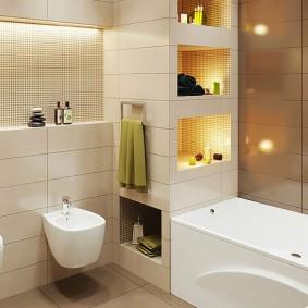 Ниши с декоративной подсветкой в интерьере ванной