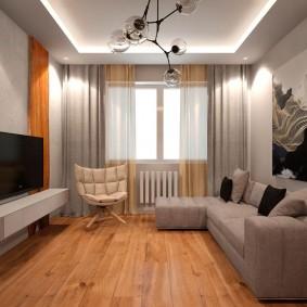 Современная гостиная в трешке улучшенной планировки