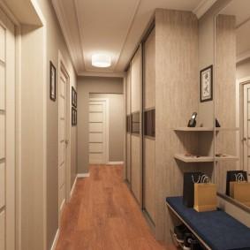 Оформление коридора в пастельных тонах