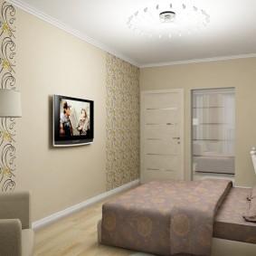 Комбинирование обоев в спальной комнате