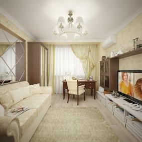 Длинная гостиная с мягкой мебелью