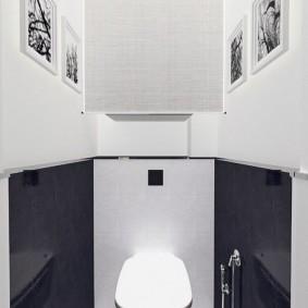 Контрастная отделка стен в туалете
