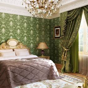 Зеленый текстиль в интерьере спальни