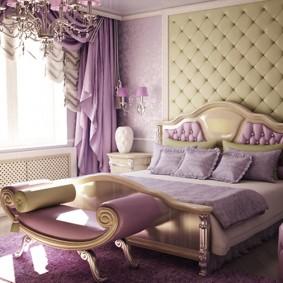 Сиреневые занавески в современной спальне
