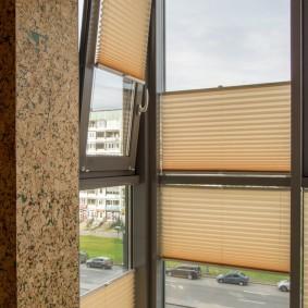 Шторы-плиссе на французских окнах балкона