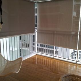Рулонные шторы на большой лоджии