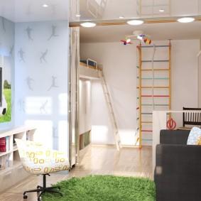 Пример зонирования однокомнатной квартиры для семьи с ребенком