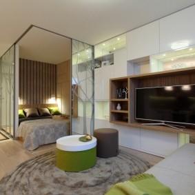 Дизайн однокомнатной квартиры со встроенной мебелью