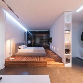 Освещение в спальной зоне однокомнатной квартиры