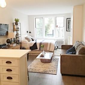 Квартира студийного типа в современном стиле интерьера