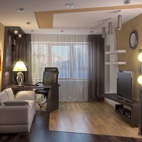 Зонирование гостиной комнаты отделкой пола и потолка