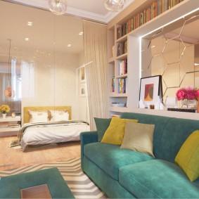 Освещение гостиной с двухспальной кроватью
