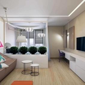 Узкая мебель под телевизором в гостиной
