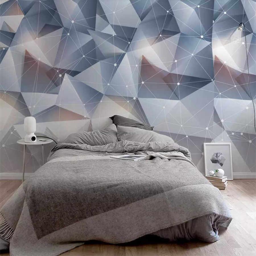 Объемные обои в спальне современного стиля