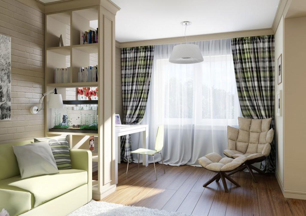 Обустройство кабинета в гостиной комнате